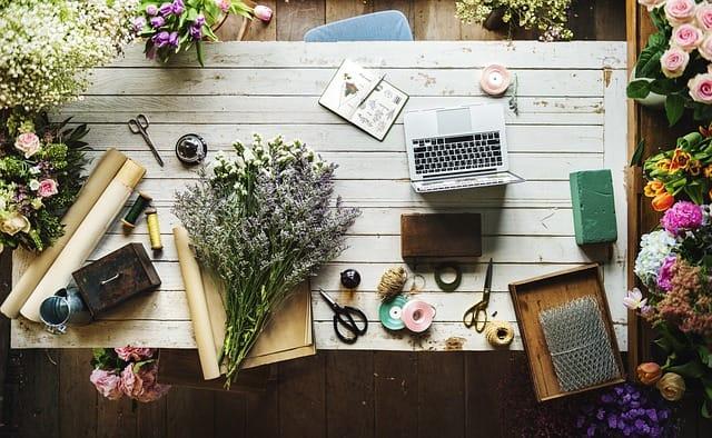 お花とワークスペース