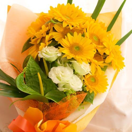 ひまわりとトルコギキョウの花束