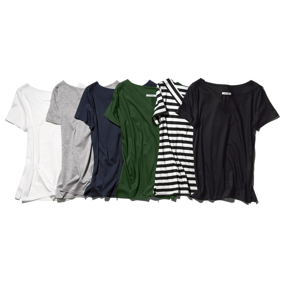 新美デコルテ(R)シリーズ 合わせV開き半袖Tシャツ