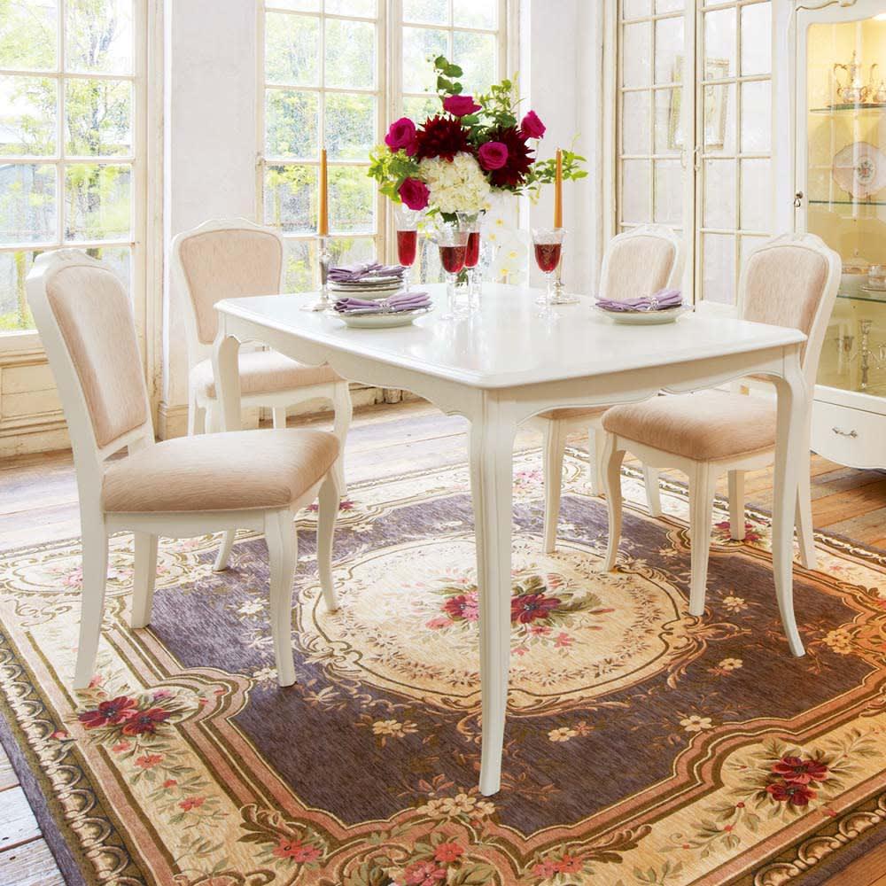 エレガントラインホワイト家具シリーズ ダイニング5点セット(テーブル幅150cm+ダイニングチェア4脚)