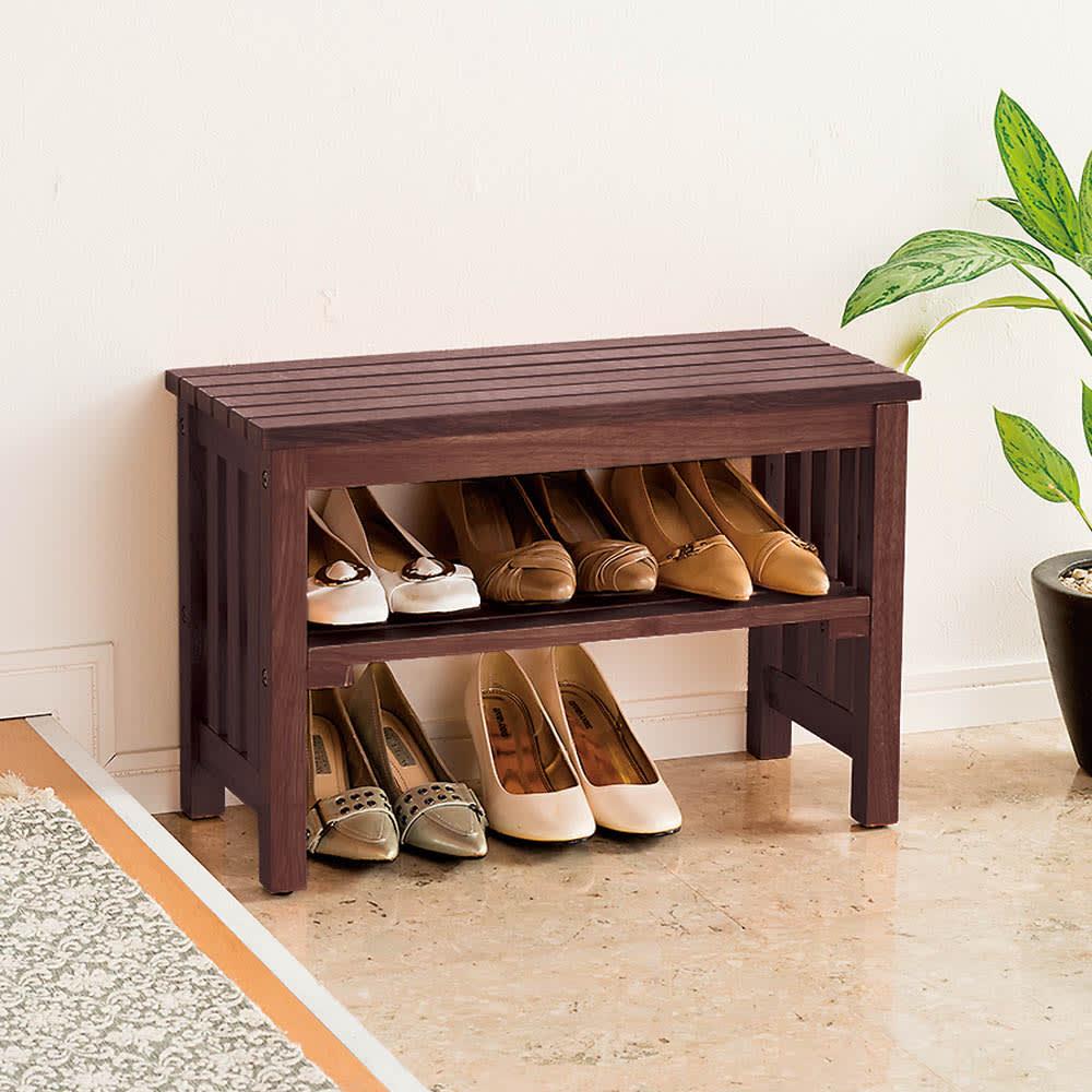 省スペースタイプ ブーツの脱ぎ履きが楽な天然木玄関ベンチ 幅60cm