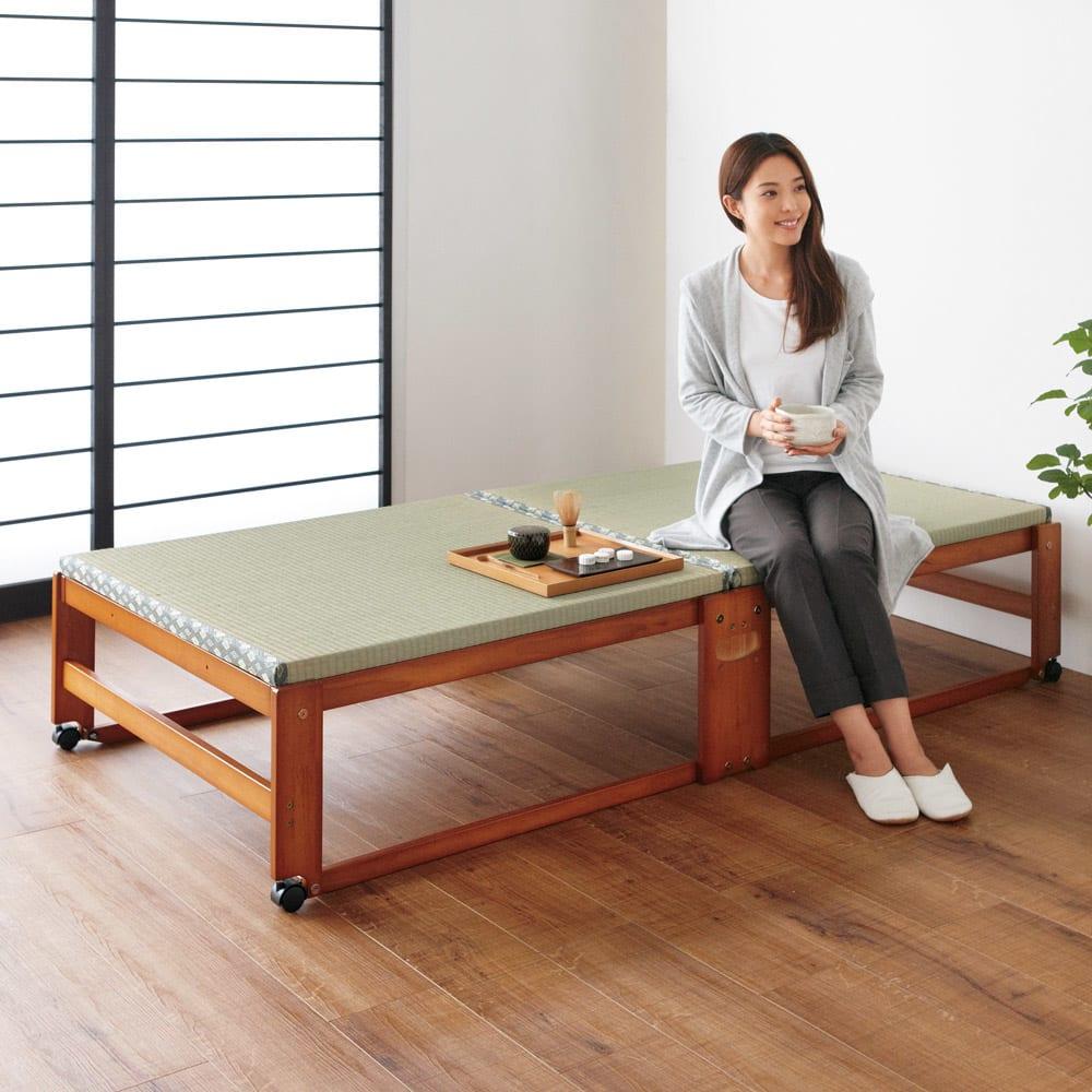 【シングル・ハイタイプ】畳空間を演出できる折りたたみベッド 棚なし