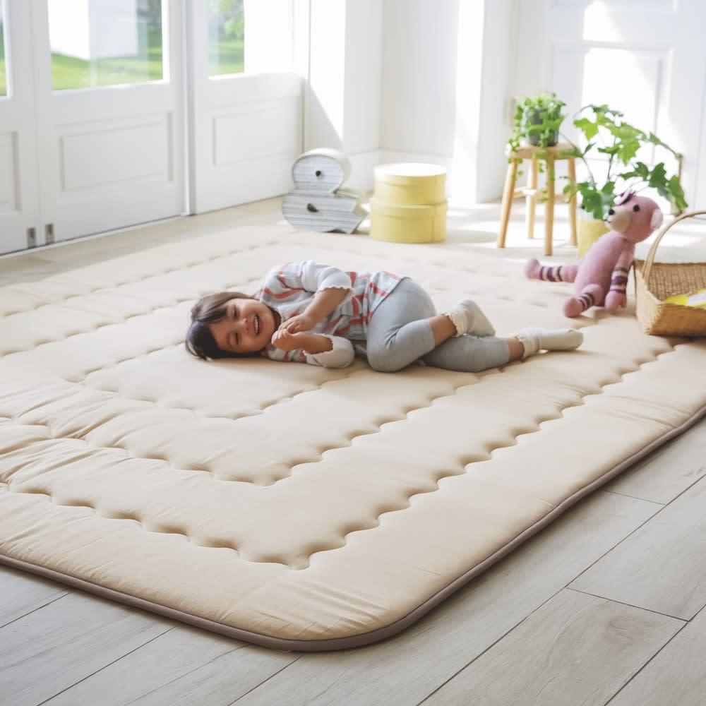 約190×240cm(インド綿平織ふっくらボリュームラグ ラグ)