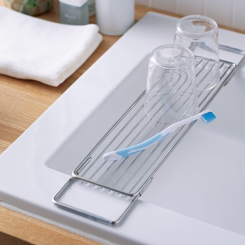 洗面台用伸縮ステンレス水切り