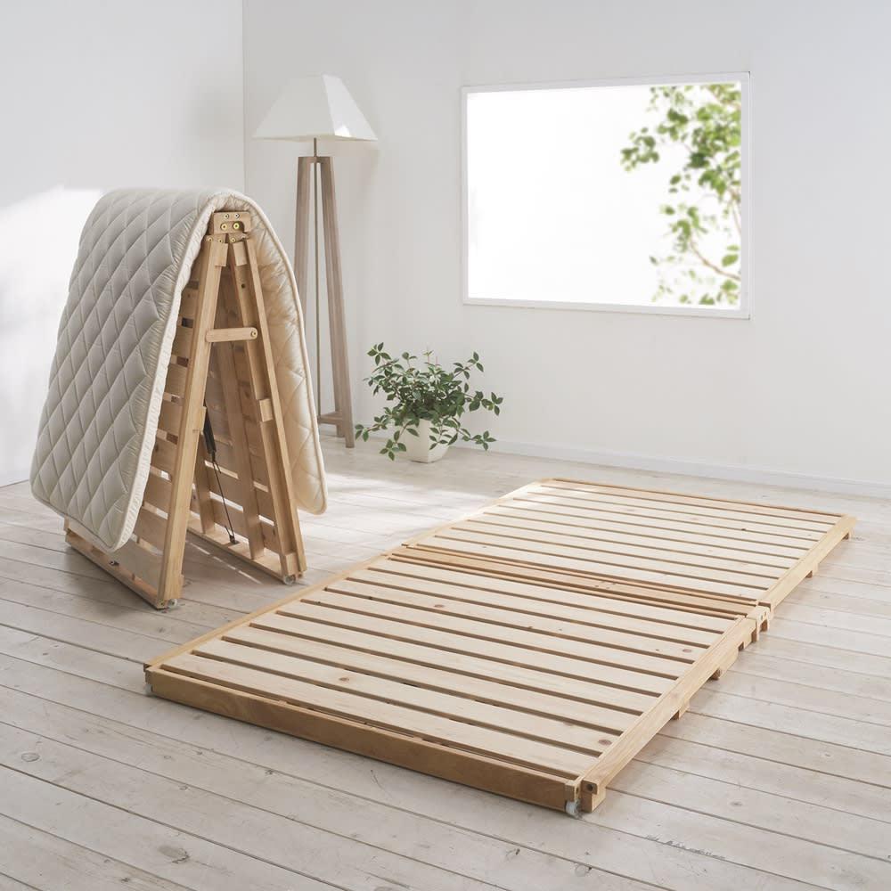 組立不要【幅108cm  ベッド単品】ぴったり並べられる折りたたみ ひのきすのこベッド