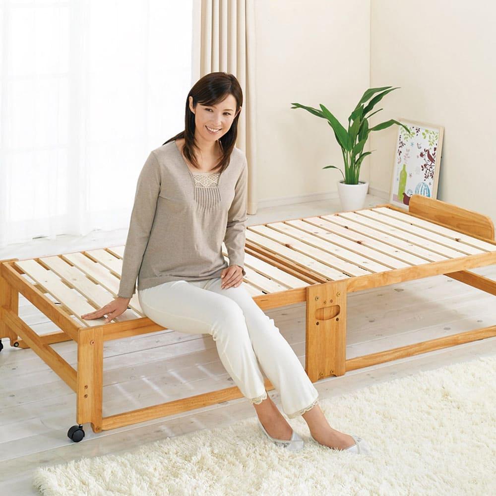 折りたたみ式ひのきすのこベッド シングルハイ