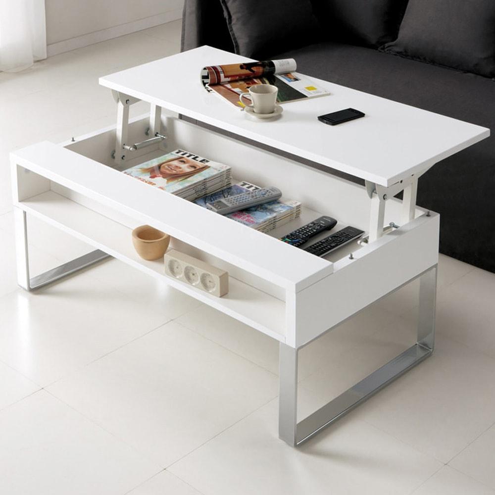 収納もたっぷり!腰かけながら使えるリフティングテーブル幅90