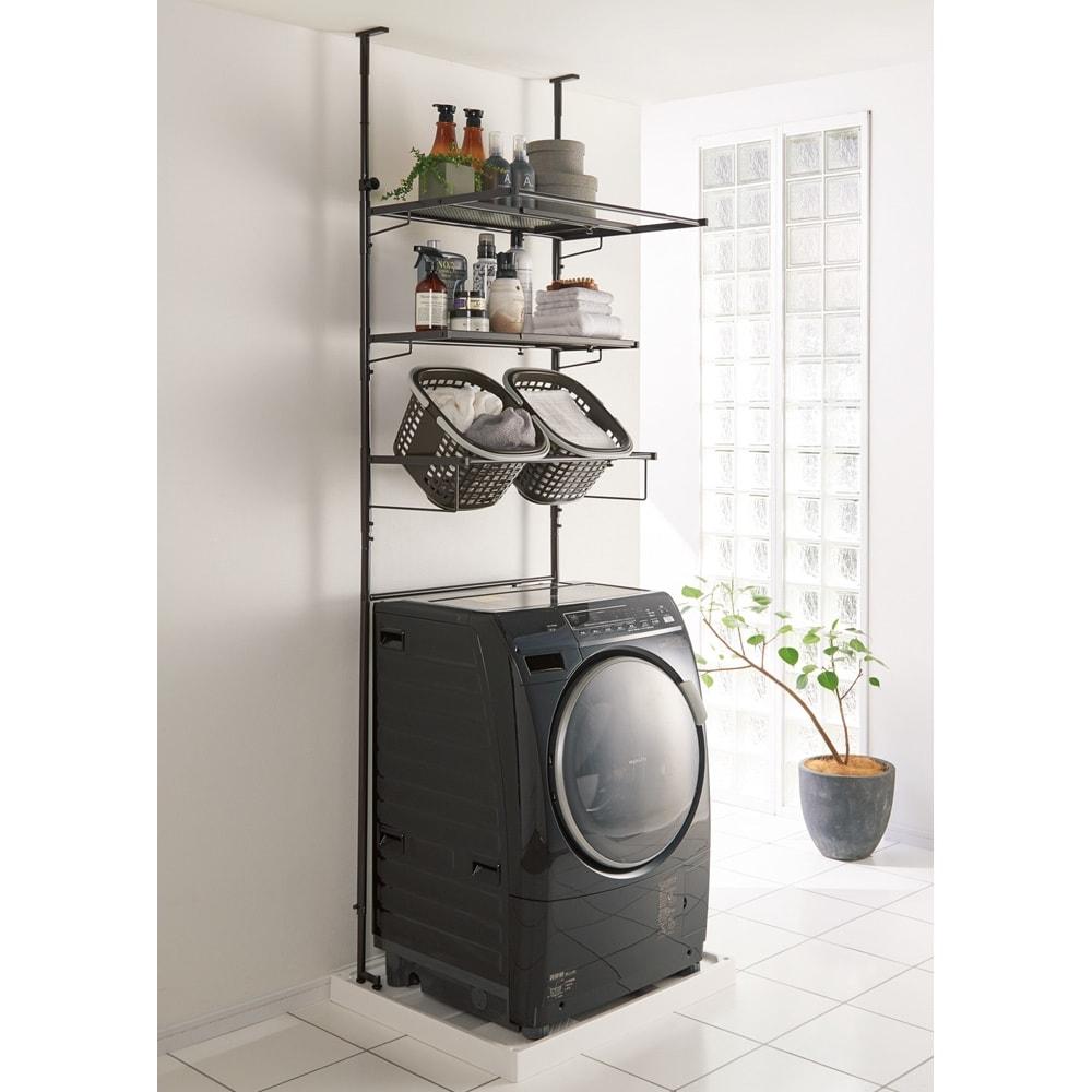 防水パンや梁があっても置ける。省スペース洗濯機ラック 棚2段バスケット2個