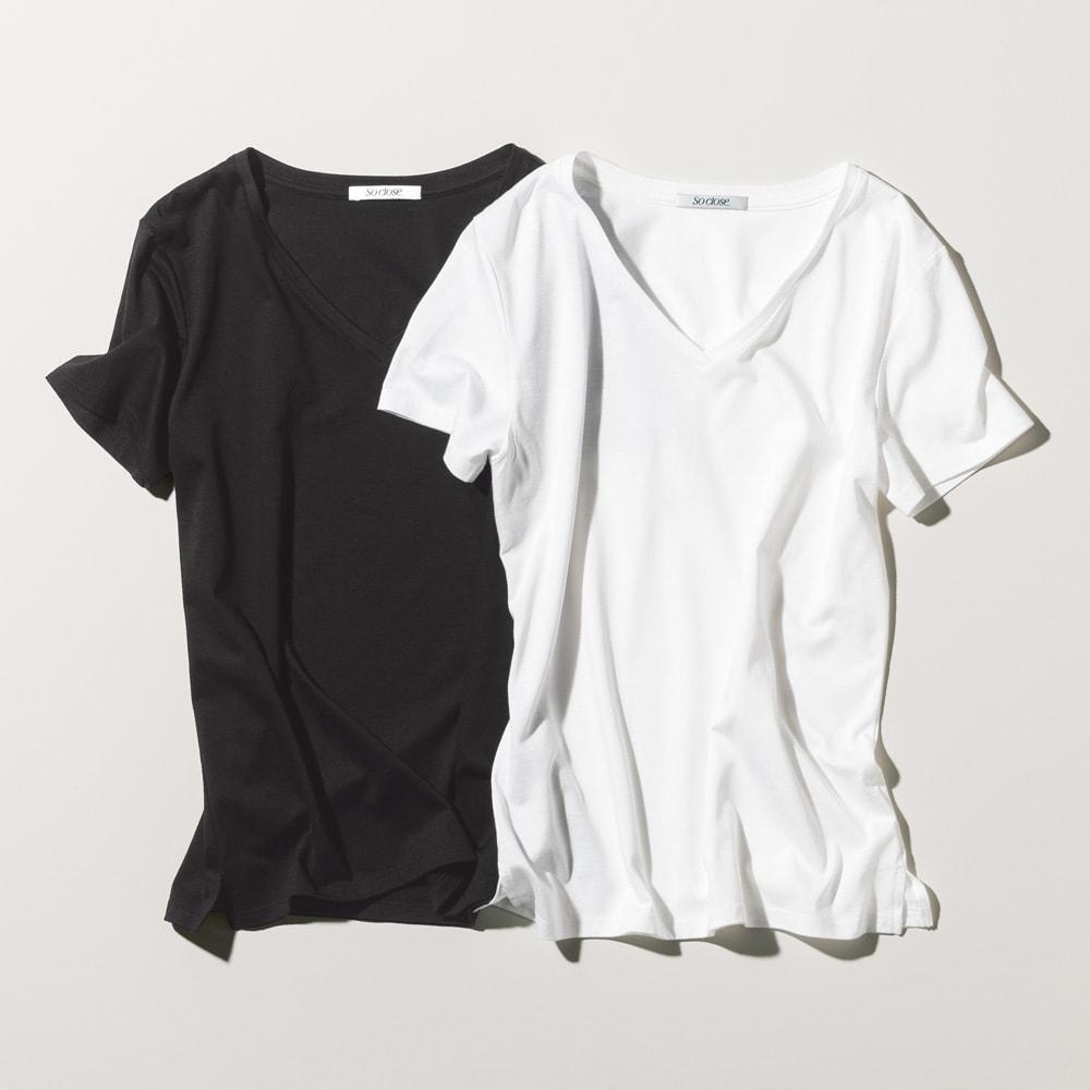 新美デコルテ(R) シリーズ 合わせ細V開き半袖Tシャツ