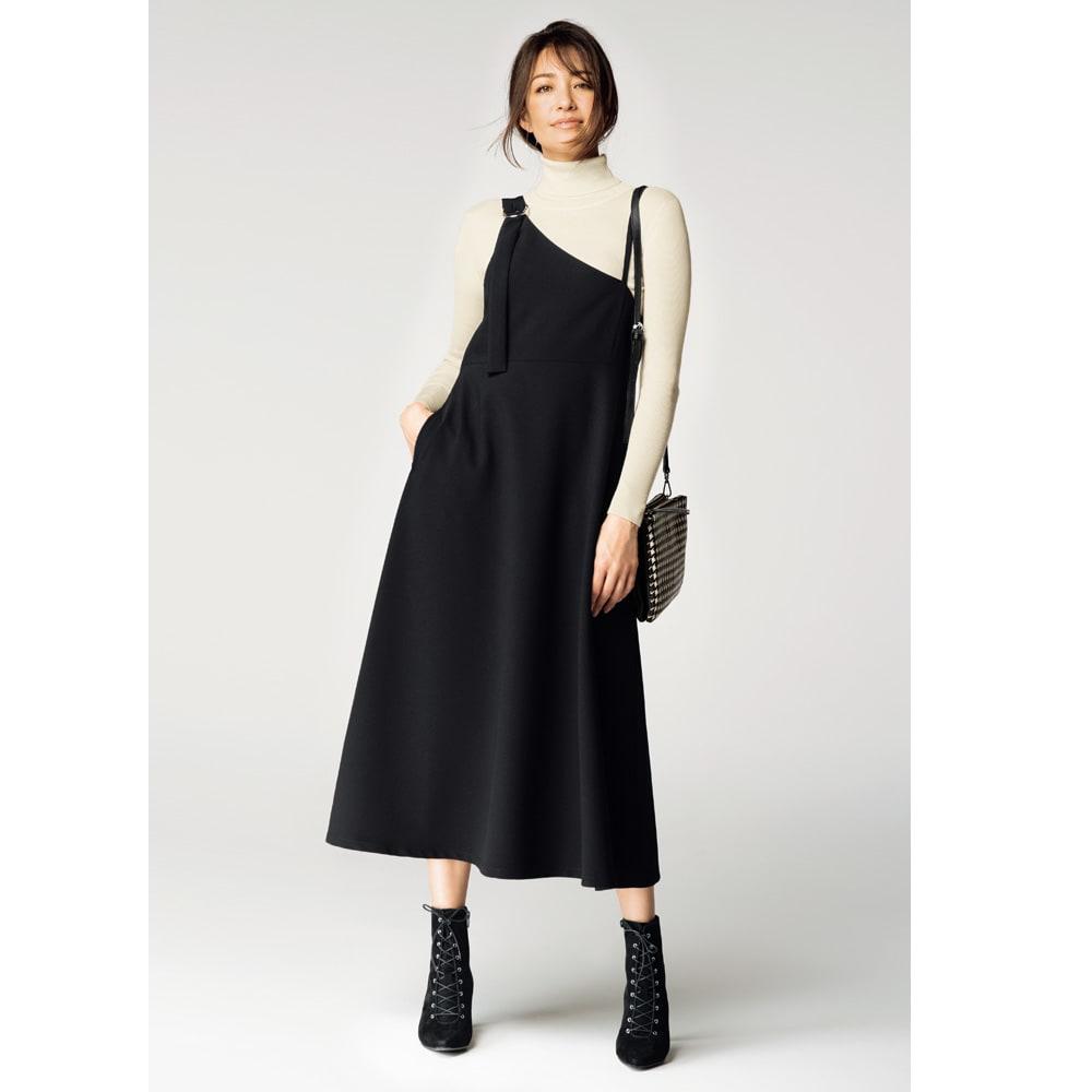 ワンショルダー風 ジャンパースカート