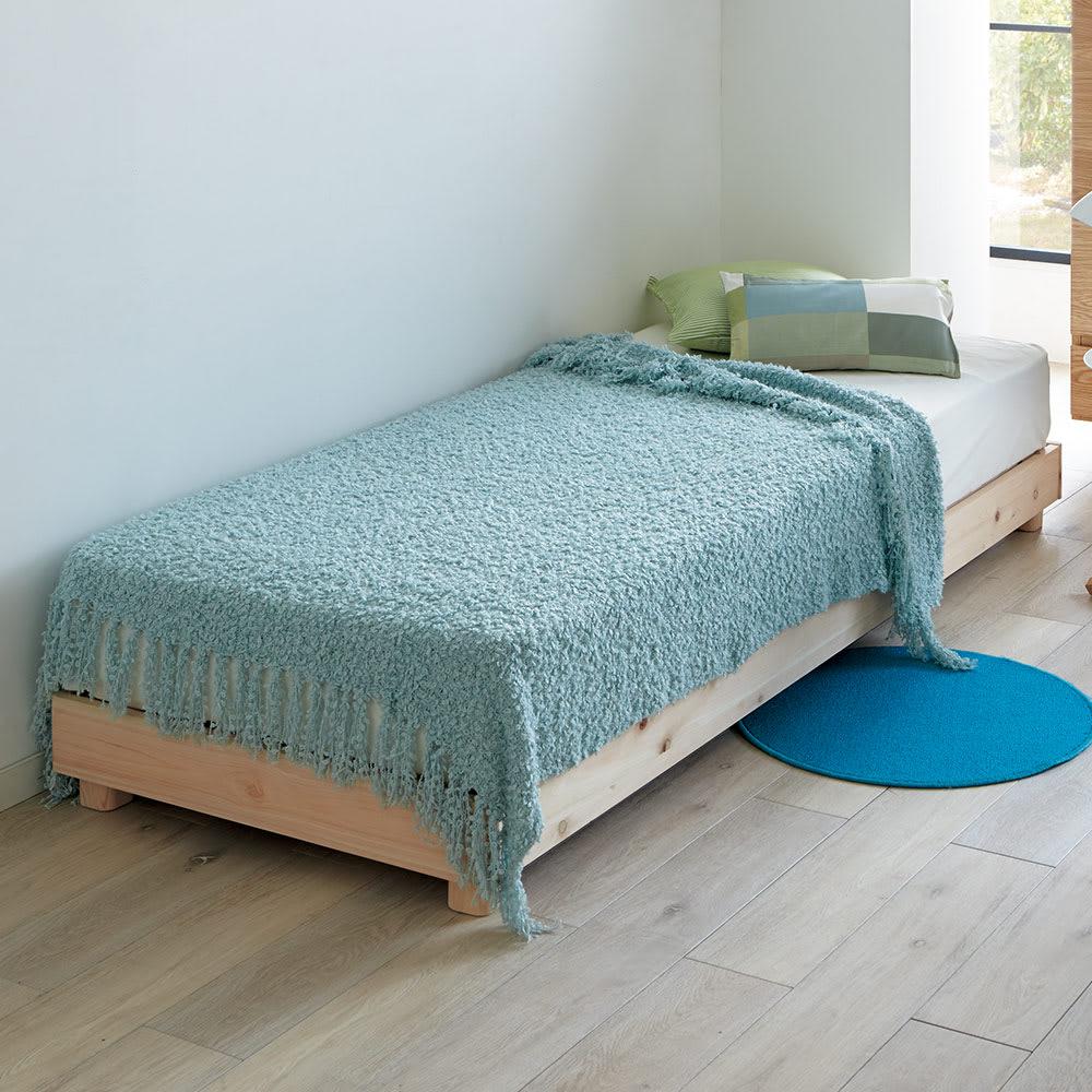 【ショート丈・セミシングル86×185】省スペース国産檜 高さ調整すのこベッド