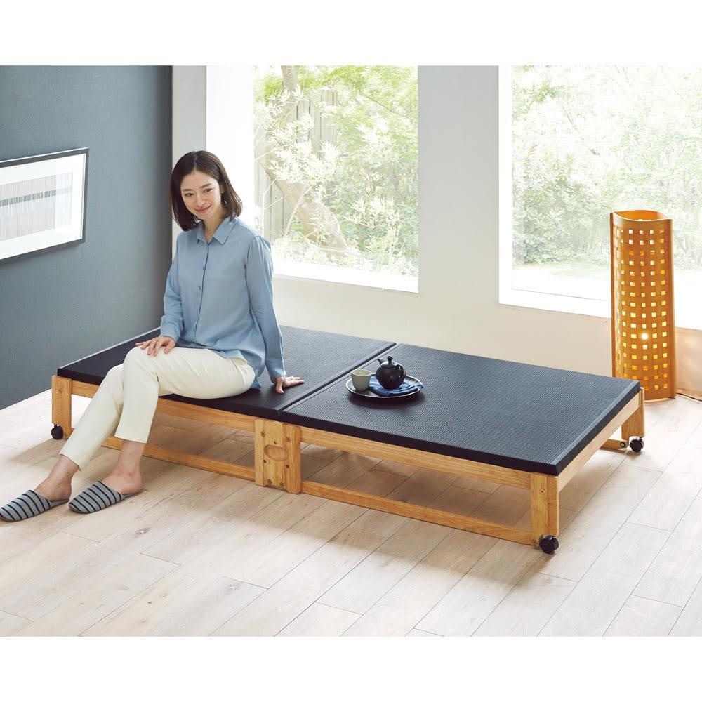 【シングル・幅94.5cm】和モダン黒畳折りたたみベッド ロータイプ