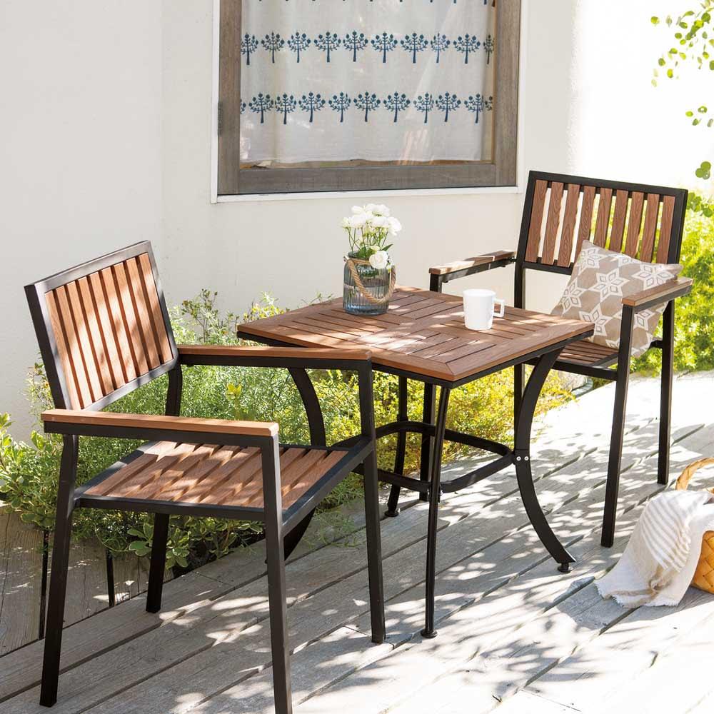 コンパクト人工木テーブル&チェア 3点セット