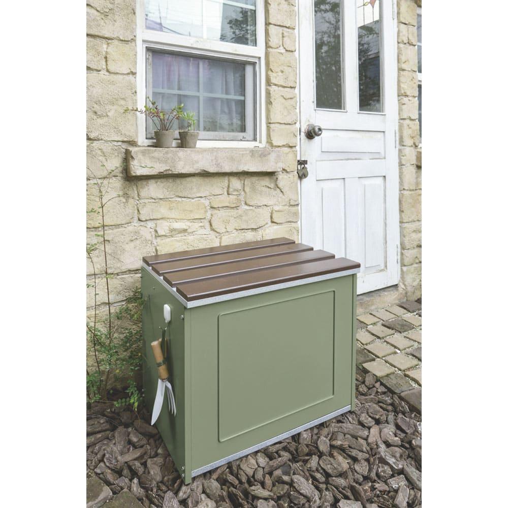 欧風収納ベンチ〈セージグリーン〉 幅60cm