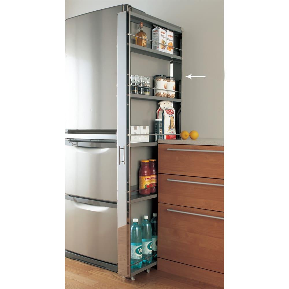 ステンレス製キッチンすき間収納ワゴン ハイタイプ(高さ164cm) 幅10奥行61cm