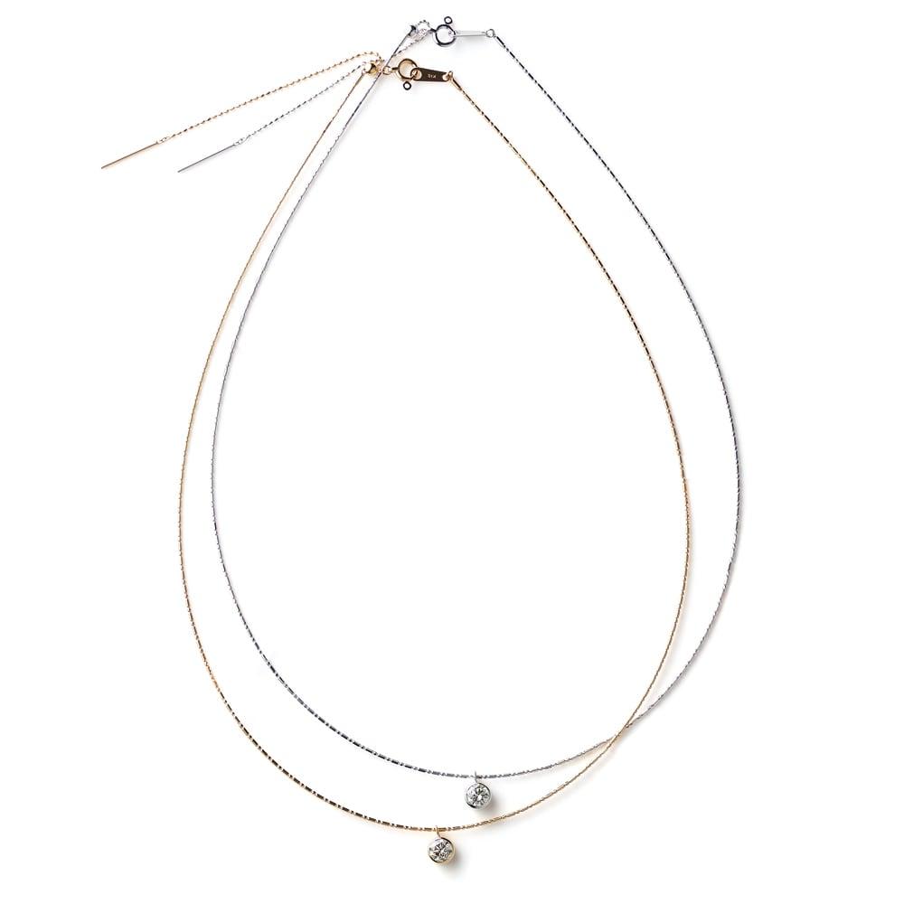 K18 0.5ctダイヤ オメガ ネックレス