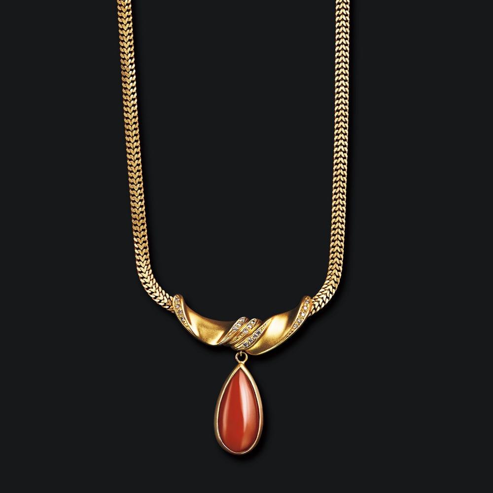 大倉珊瑚店 K18 血赤珊瑚 デザイン ネックレス