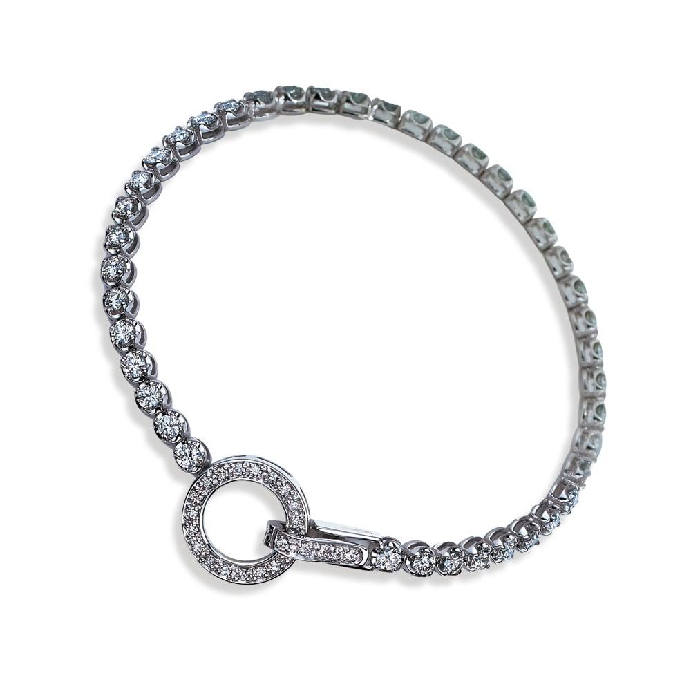 K18WG 3ct ダイヤ デザイン ブレスレット