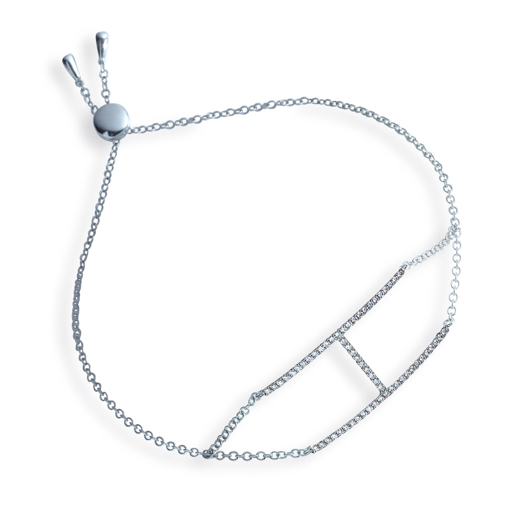 K18WG 0.3ct ダイヤ デザイン ブレスレット
