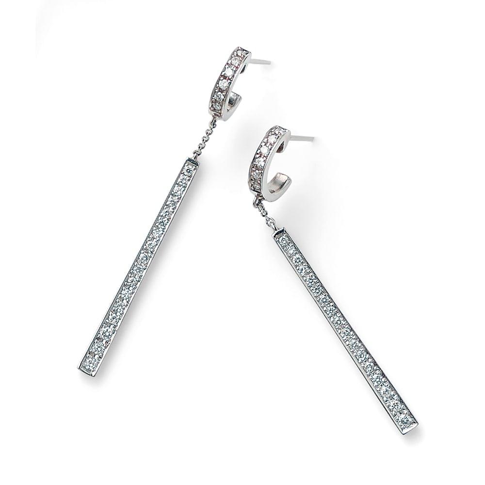 K18WG 0.4ctダイヤ デザイン ピアス