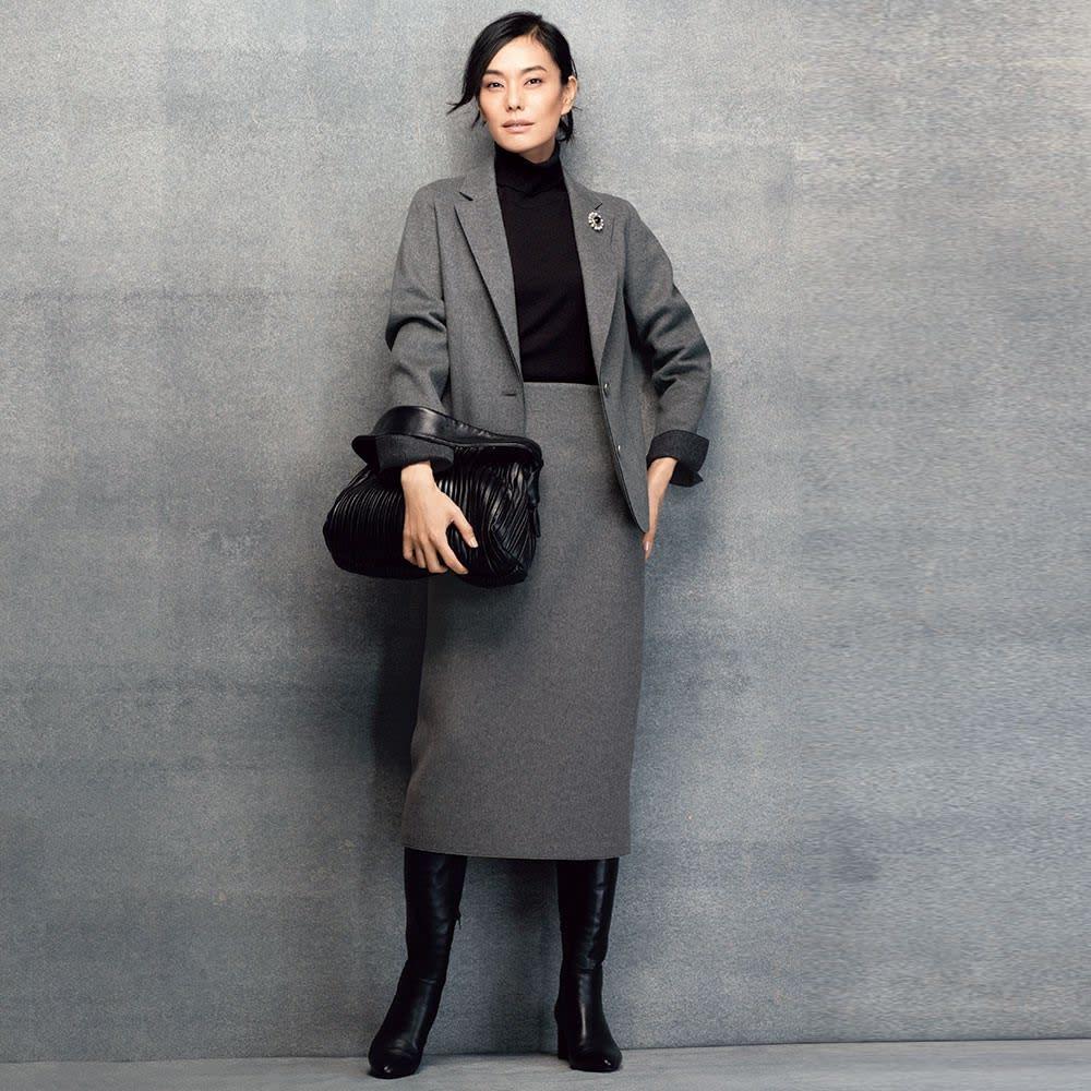 ウール混 ダブルフェイスジャージー TPS スーツセット(ジャケット+スカート)