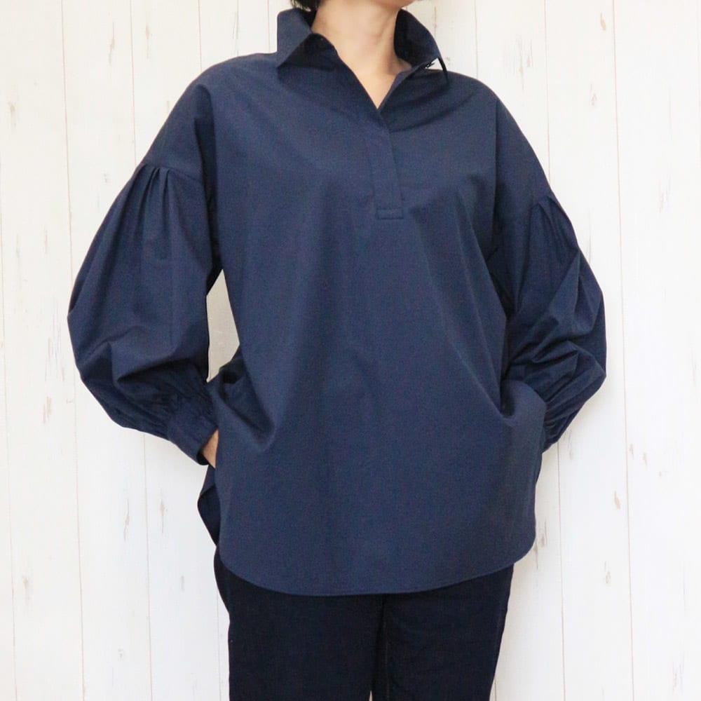 スペイン素材 オーガニックコットン ボリュームスリーブ スキッパーシャツ