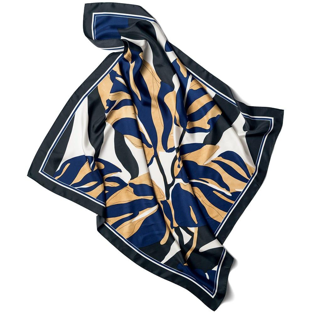 シルクツイル リーフプリント スカーフ