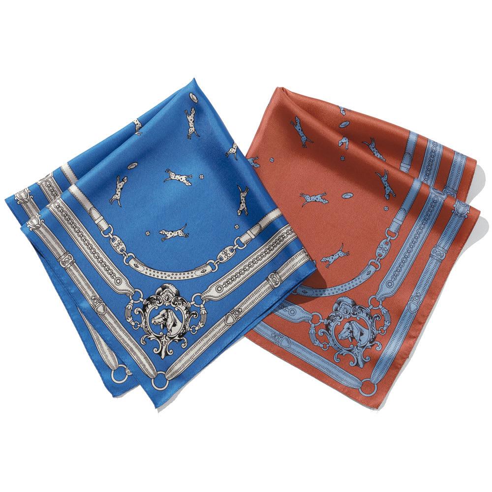 犬柄シルクプチスカーフ