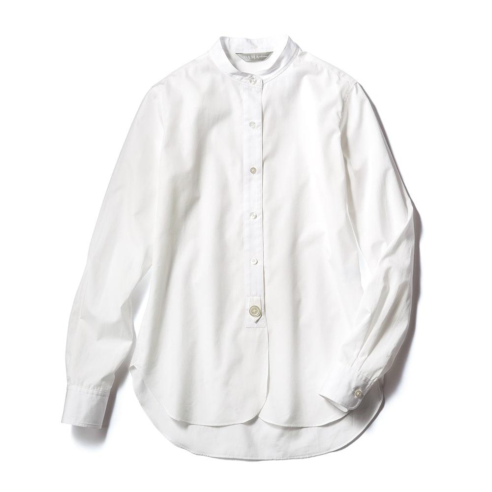 裾ラウンドデザイン スタンドカラー シャツ