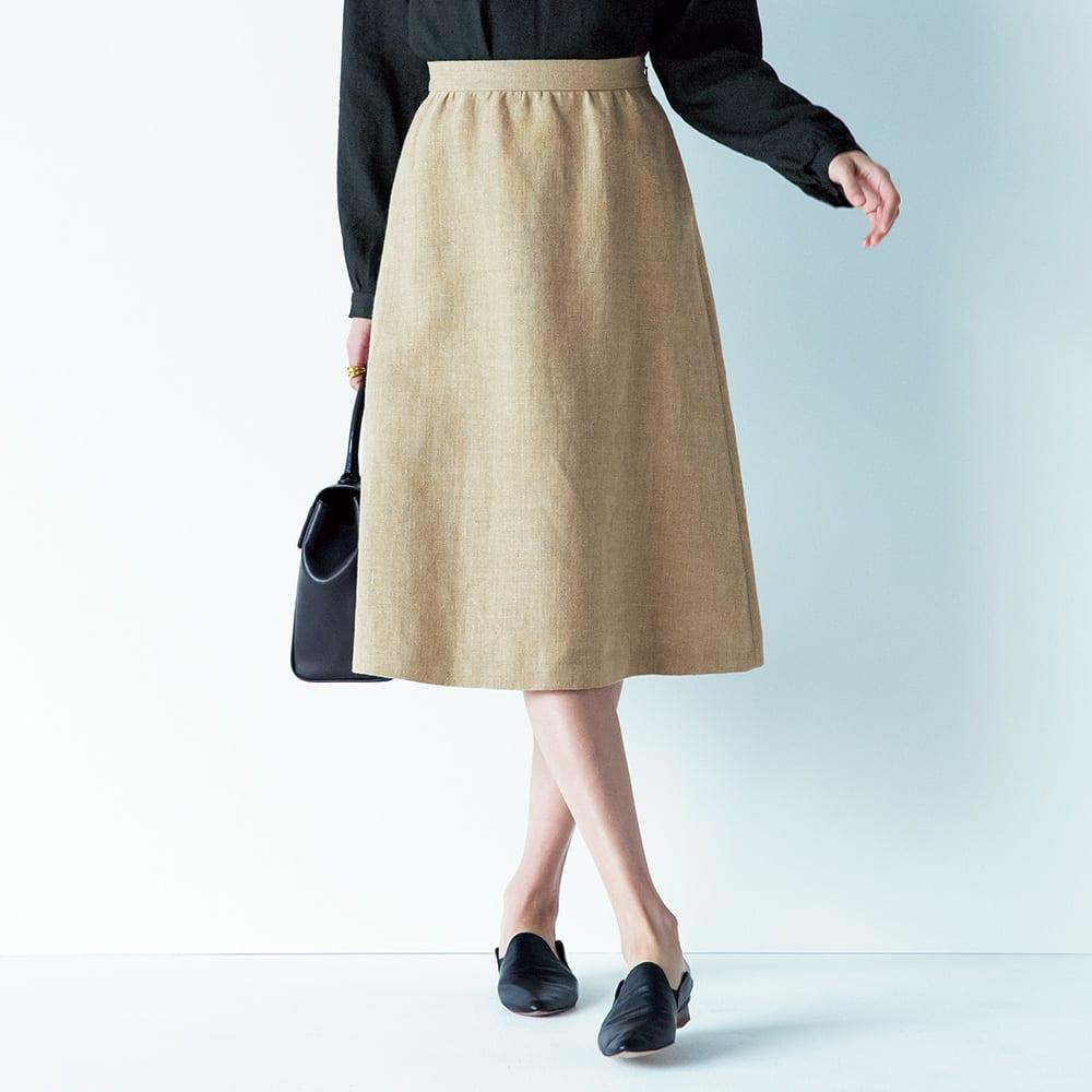 イタリア素材 リネン セミフレアースカート