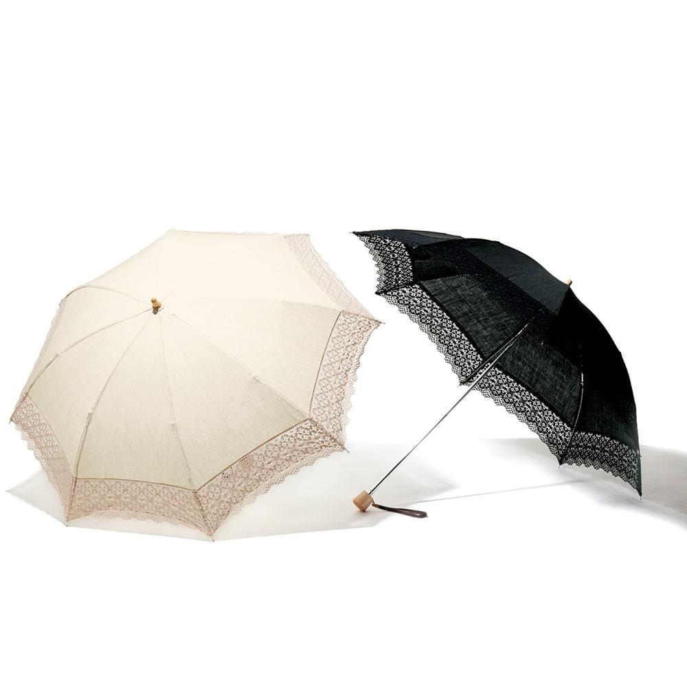 前原光榮商店 麻×レース 折り畳み日傘