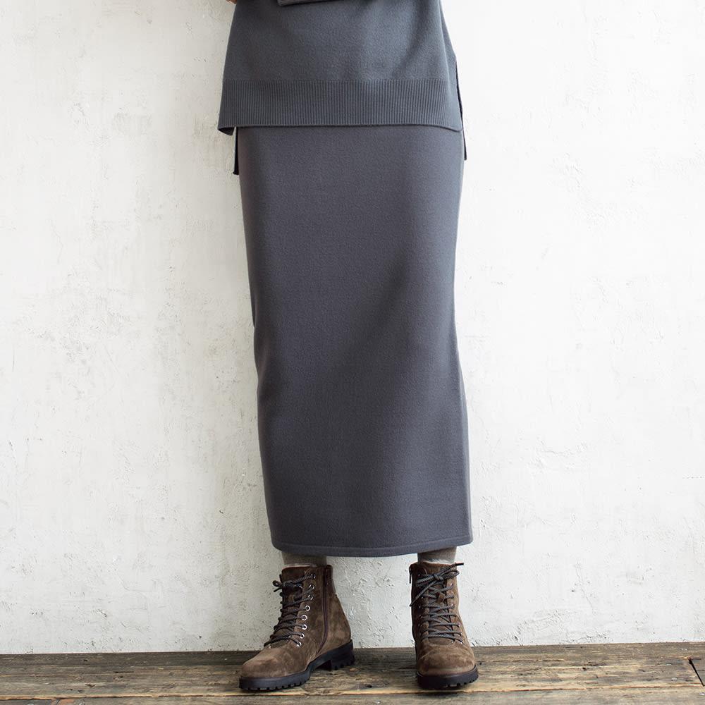 イタリア糸 圧縮ウールニット ロング タイトスカート