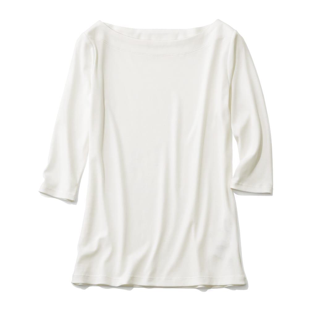 「フレスカ」 コットン ボートネック Tシャツ