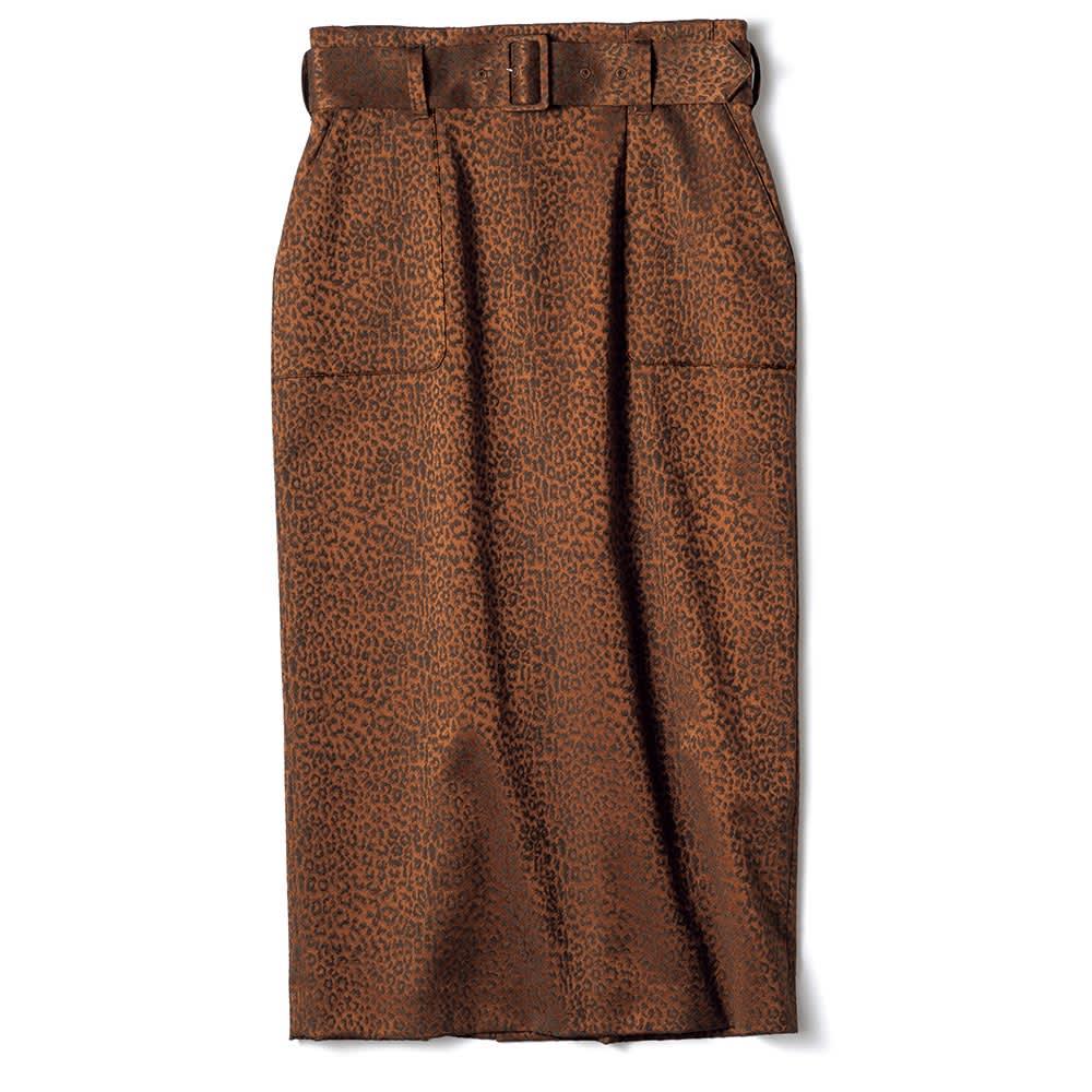 フランス素材 レオパード柄 ジャカード スカート
