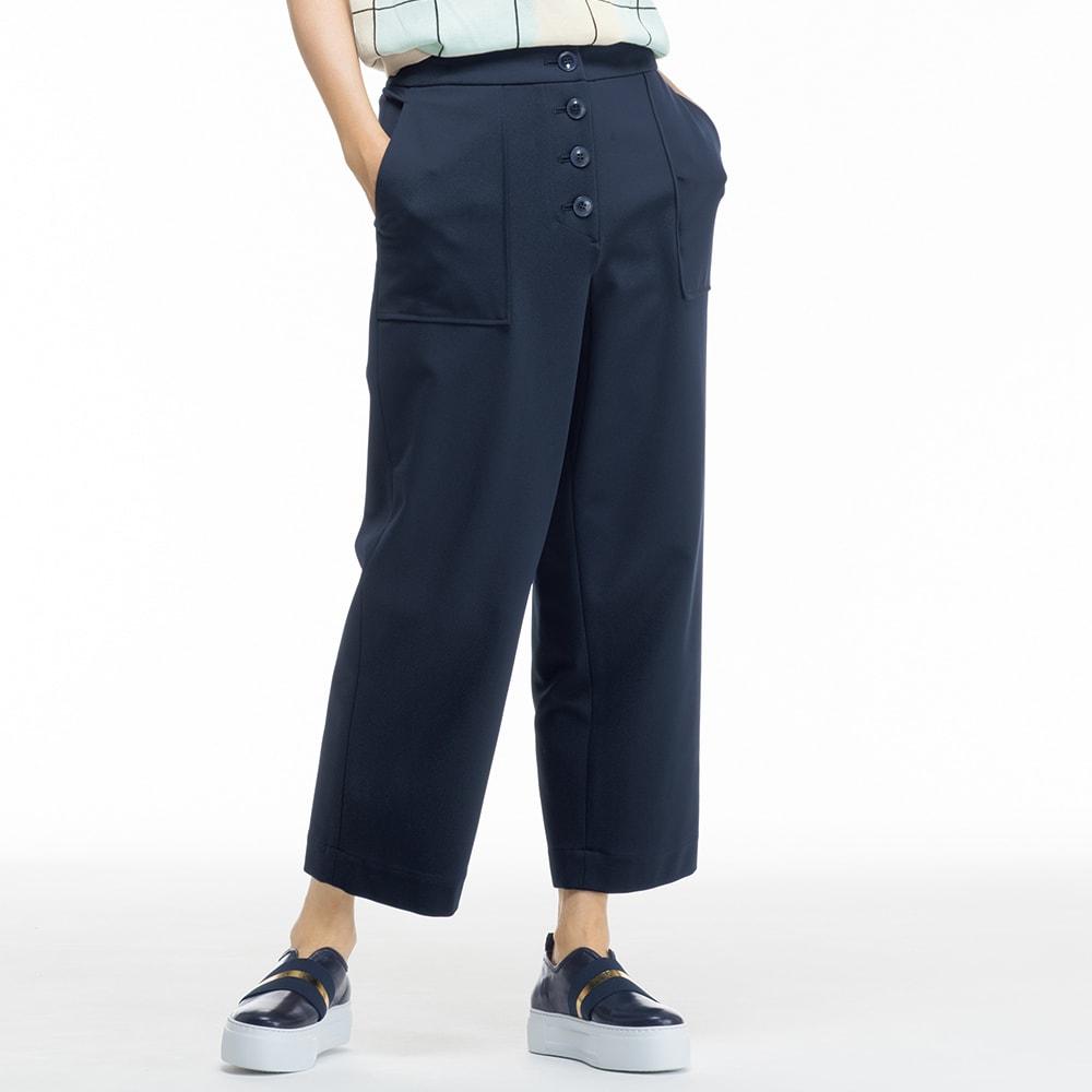 【股下丈58cm】 ボタンデザイン ジャージー パンツ
