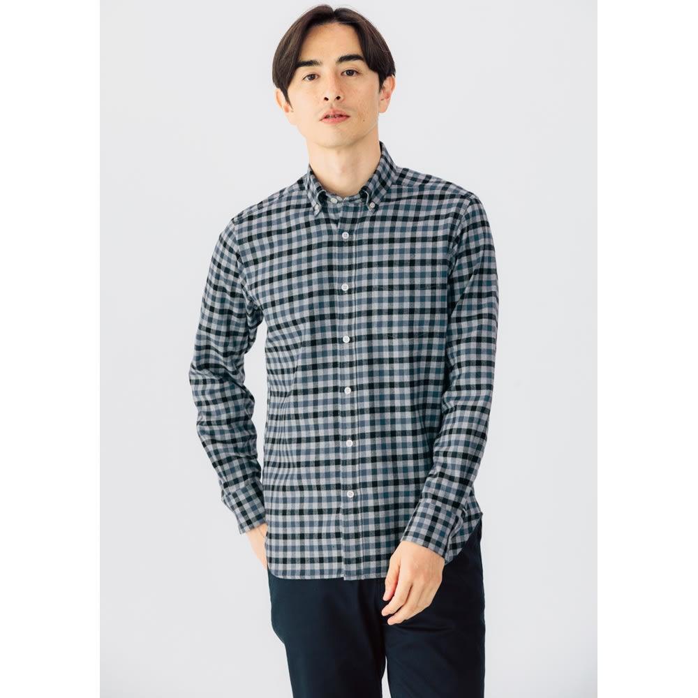SCENE® 7DAYS ジャパンメイドシャツシリーズ ツイルグレーチェック レギュラータイプ