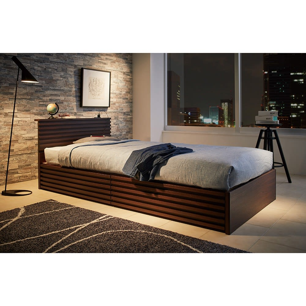 約209×79cm(ウォルナット格子調ベッド フレームのみ レギュラー丈 長さ209cm)