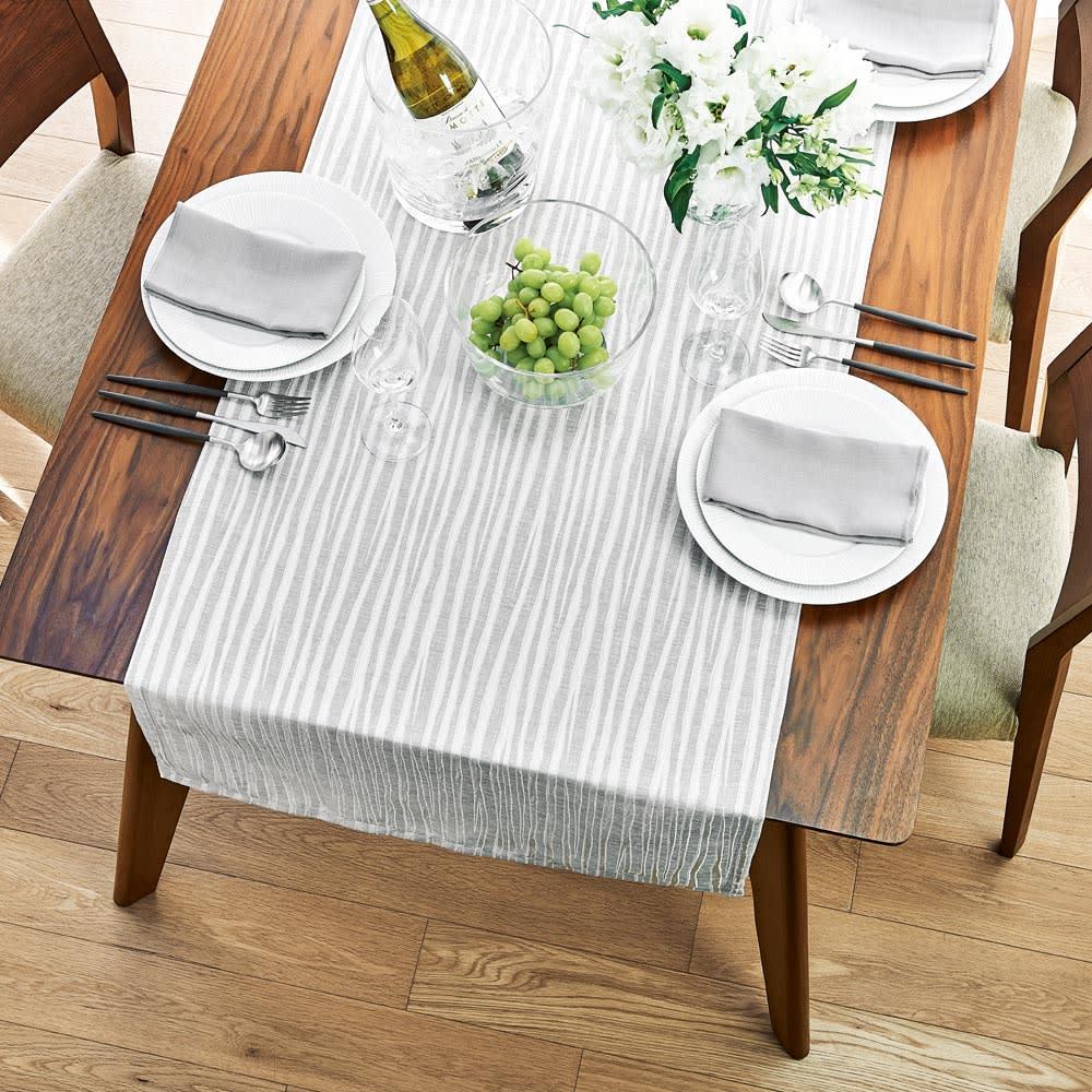 撥水加工 ジャカード織の幅広テーブルランナー 60×180cm