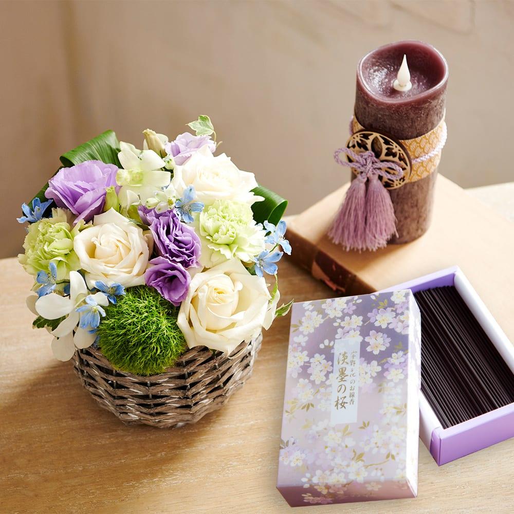 お供え生花アレンジメント「エターナル」&宇野千代のお線香「淡墨の桜」