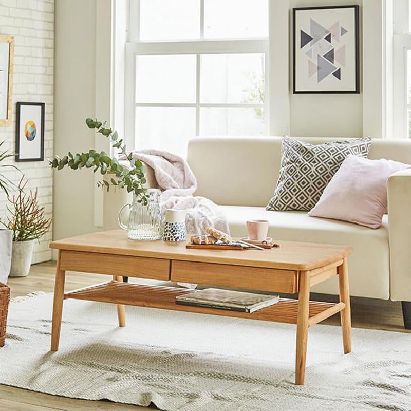 棚付き天然木テーブル