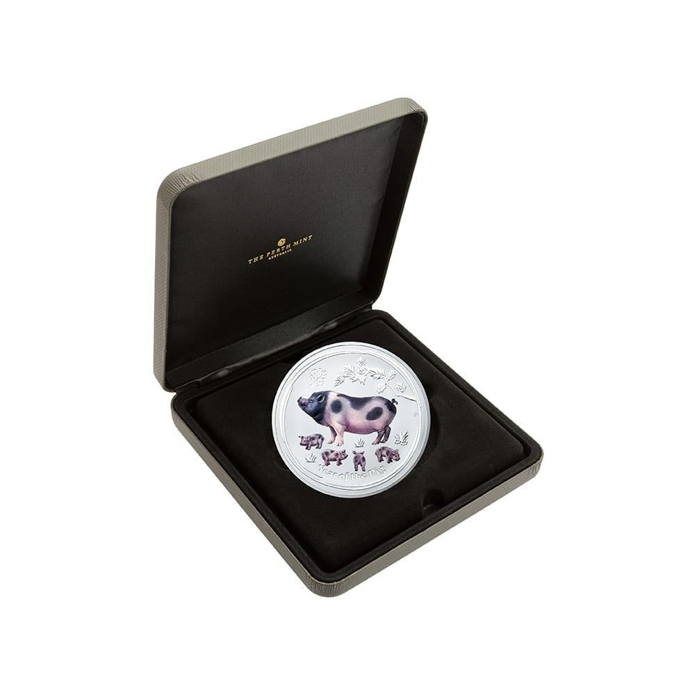 亥年猪図記念コイン 30豪ドルカラー銀貨