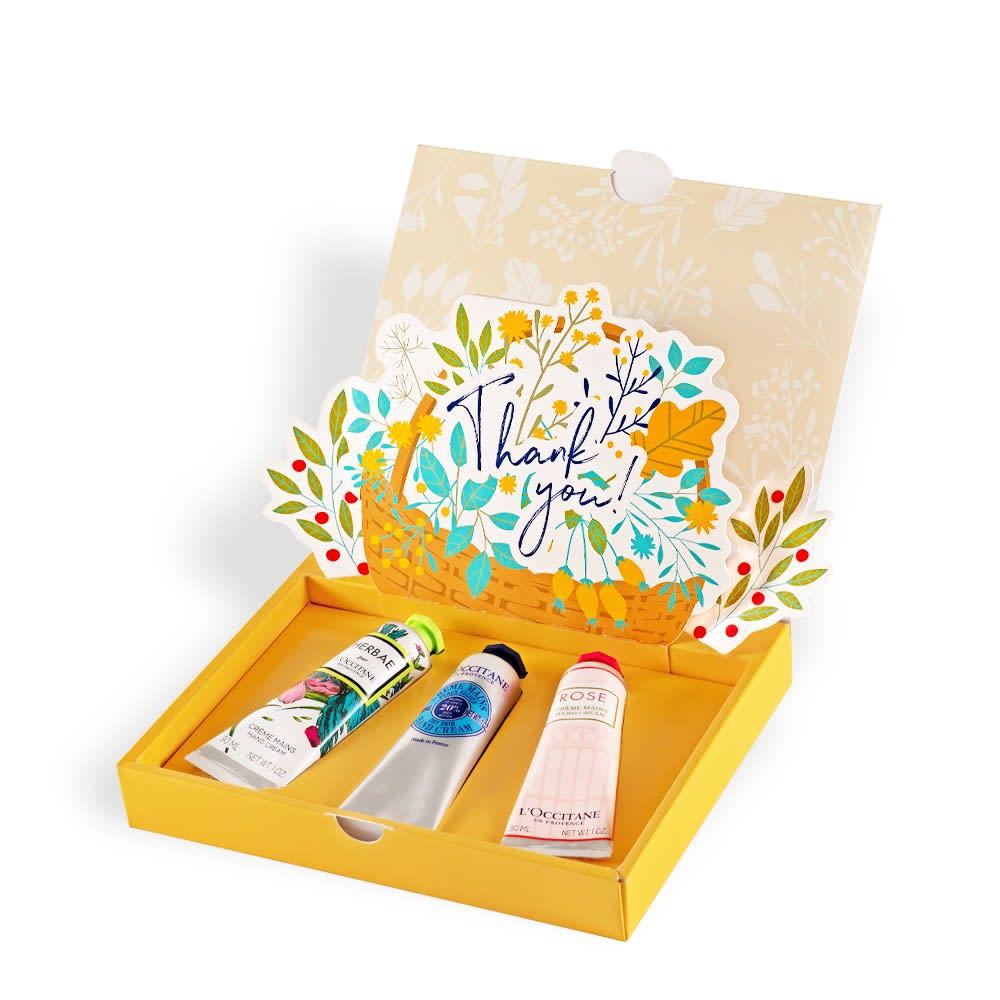 女性の昇進祝いにはケアアイテムも人気。気分で香りを選べる3種セット。<br /><br />L'OCCITANE/ロクシタン ロクシタン ハンドクリームギフトコレクション (Thank you!)