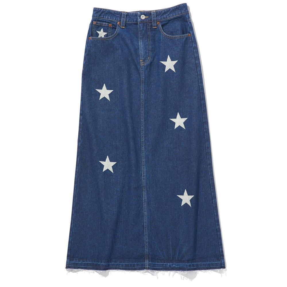 星柄刺しゅうデニムスカート