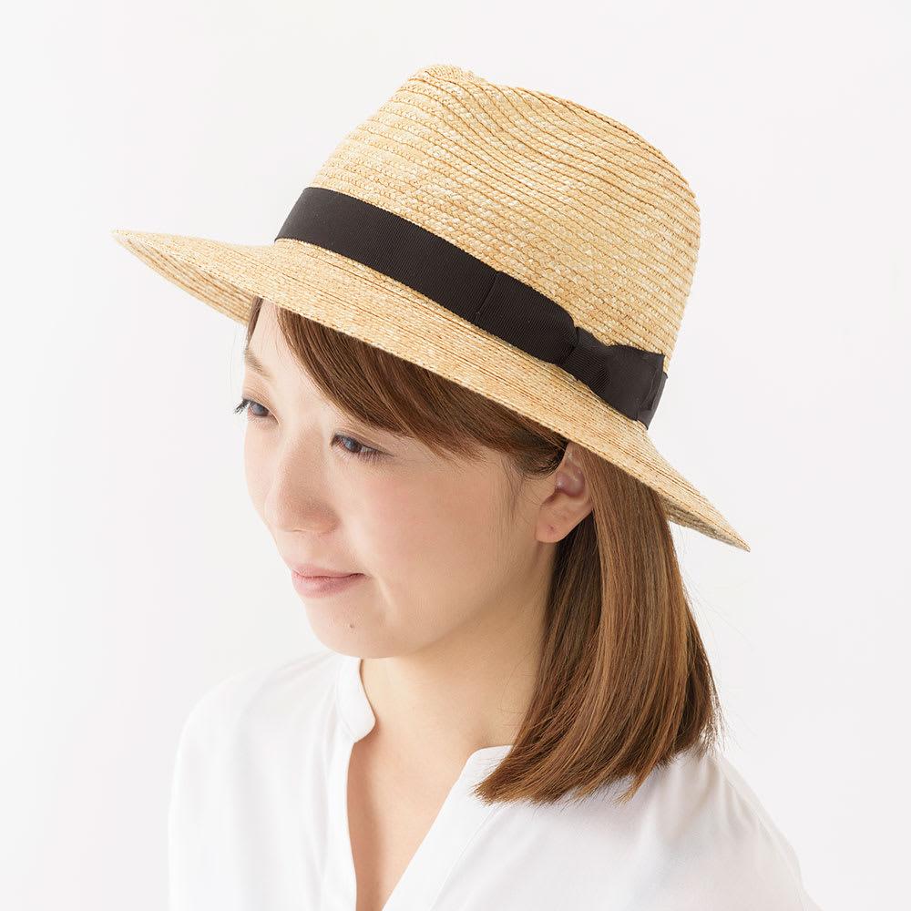 田中帽子店/麦わら帽子 細麦つば広中折れ帽子 エマ