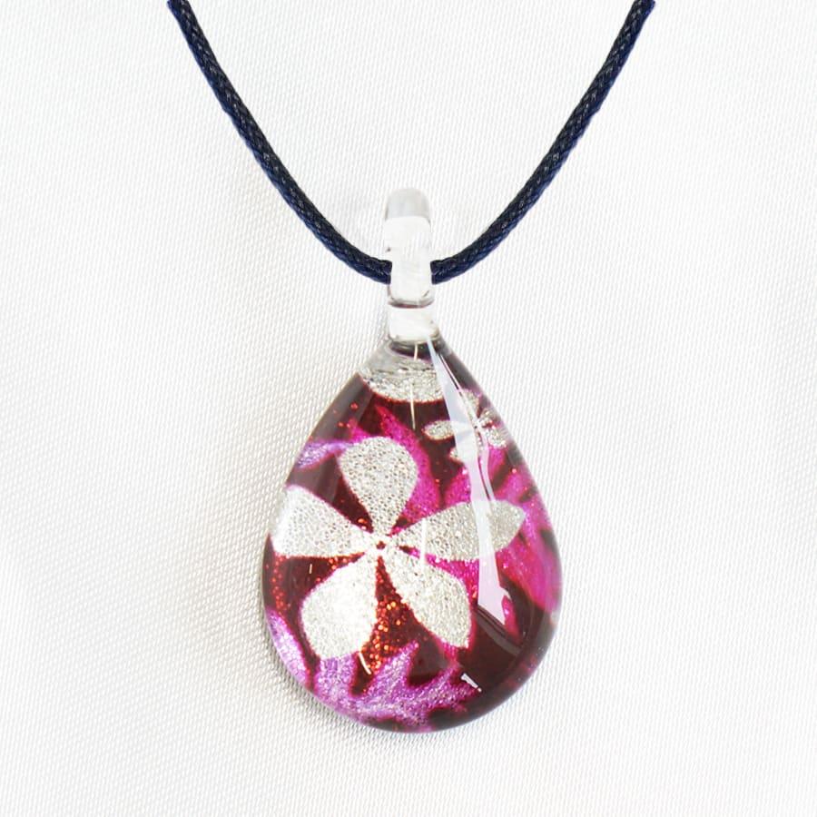 日本製ハンドメイドグラスジュエリー|ノースワングラスジュエリー/shibazakura 芝桜ドロップネックレス