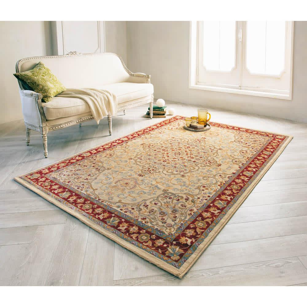 約140×200cm(スペイン製ウィルトン織りラグ〈カシャーン〉) 655925
