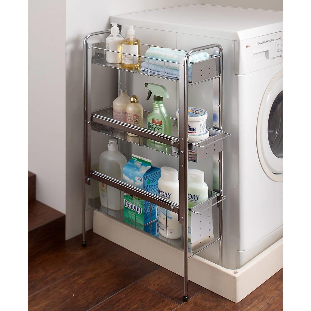 ステンレス棚の洗濯機サイドラック 3段・幅21cm・高さ80cm 661423
