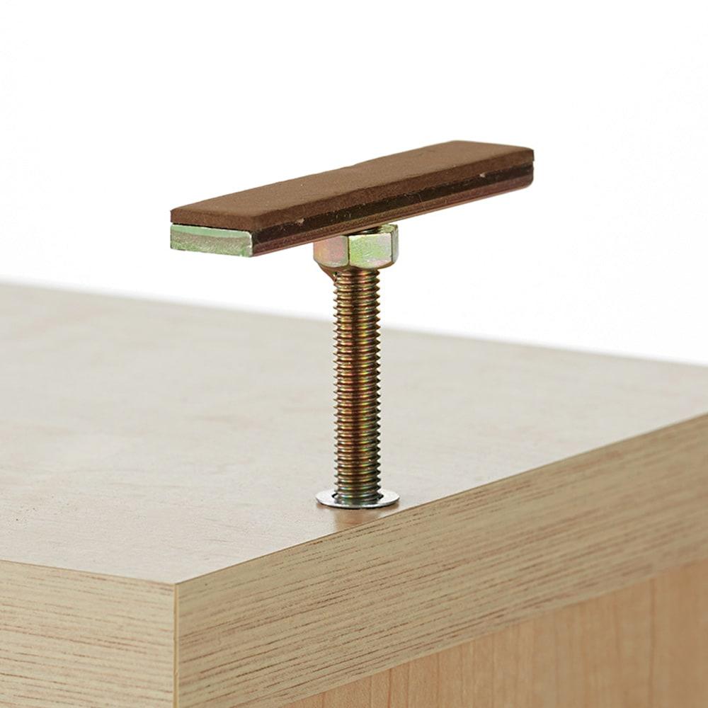 オープン棚付きカウンター下収納庫 2枚扉 《幅60cm・奥行20cm・高さ71~100cm/高さ1cm単位オーダー》 突っ張り金具でズレを防いで設置できます。