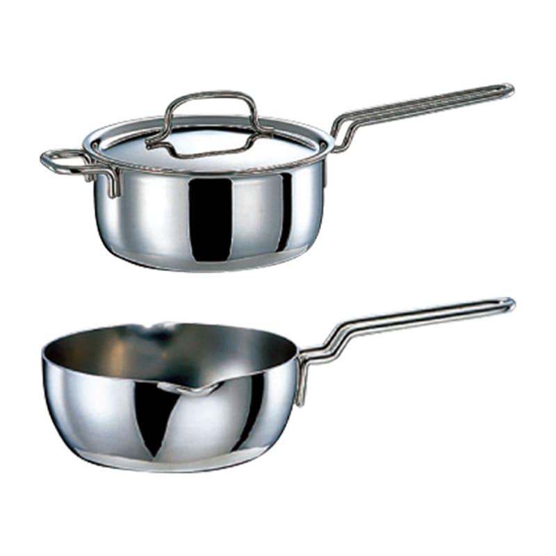 【特典3点付き】IH対応 服部先生のステンレス7層構造鍋「ジオ」 6点セット 上から 片手鍋、ゆきひら鍋