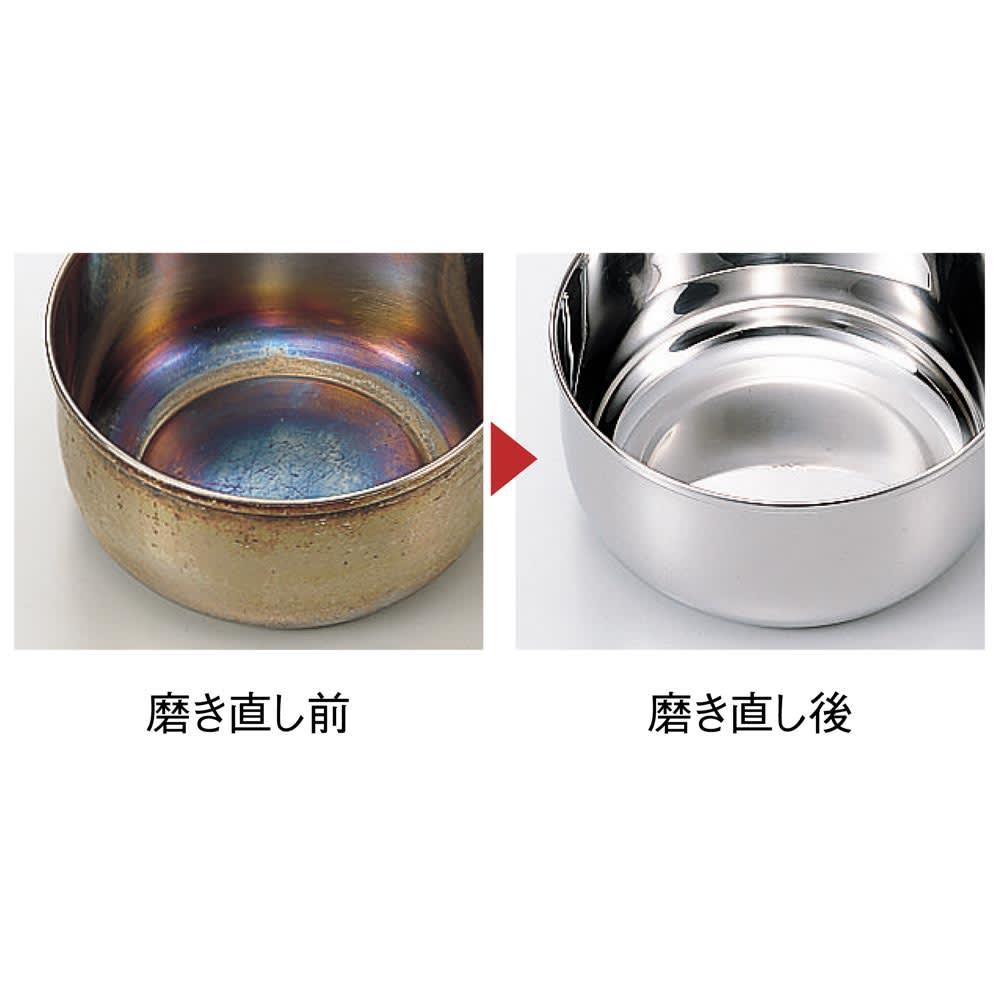 IH対応 服部先生のステンレス7層構造鍋「ジオ」 浅型両手鍋径25cm 宮崎製作所で一つ一つ丁寧に作られているジオシリーズ。全ての段階で熟練の職人による厳しい検品を行っています。驚異の15年保証は品質への絶対の自信の表れ。経年による汚れや焦げを丁寧に磨き直し、新品同様にできるのも国産ならではのメリットです。(実費が発生します)